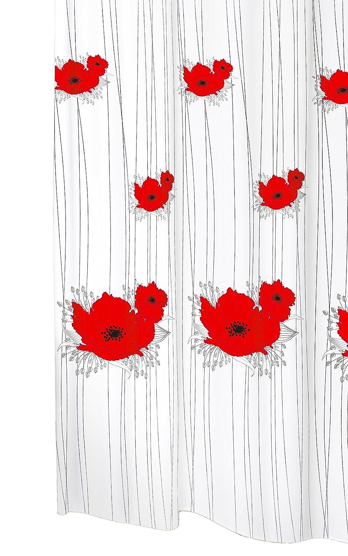 Tenda da doccia tessuto lavabile con anelli PAPAVERO in bianco con un motivo a fiori papavero, colori: rosso e nero, dimensioni: 120x200 cm circa