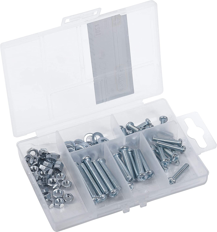 Connex DP8500103 - Surtido de tornillos de rosca, 102 piezas, varios tamaños, cabeza de lentejuelas PH, rosca completa, incluye tuercas y arandelas, juego de tornillos, caja surtida