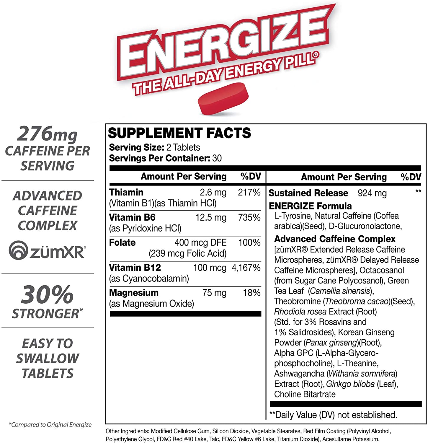 iSatori Energize Extra Strength Caffeine Pills - Fast Acting Long-Lasting Energy Pill - Extended-Release Caffeine - Improved Alertness and Clarity - All Day Energy, No Jitters, No Crash (60 Tablets): Health & Personal Care