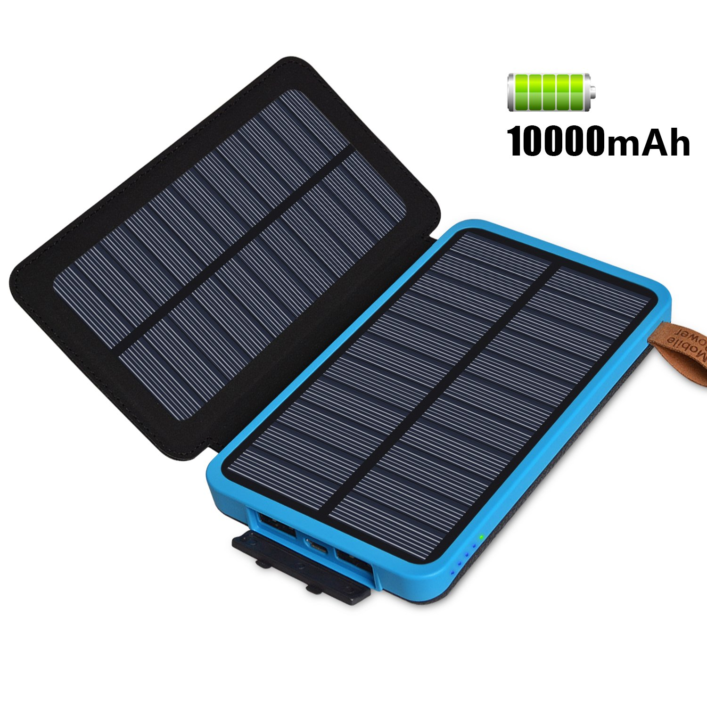 FEELLE Cargador Solar Portátil Impermeable 10000mAh Panel Solar Plegable Backup Power Bank con Doble USB Puertos y LED de luz de Emergencia para ...