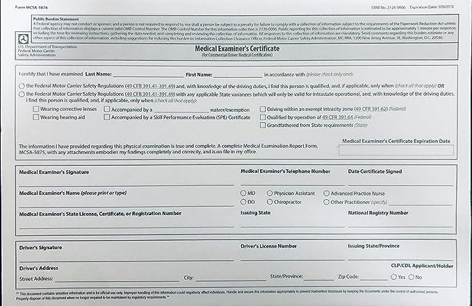 medical certificate form examiners mcsa 5876 printable dot wallet examiner