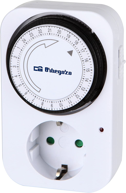 Orbegozo PG 02 Programador Diario 24 horas, Potencia Máxima 3500 W, Interruptor ON/OFF, Uso Interior, Programable