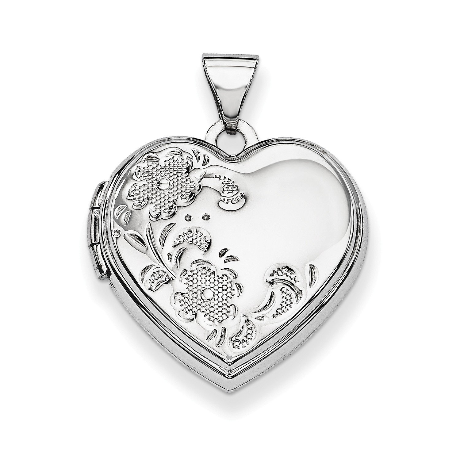 Roy Rose Jewelry 14K White Gold Polished Heart-Shaped Floral Locket 24x19mm