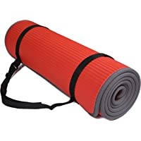 BalanceFrom Unisex-Adult BalanceFrom GoFit All-Purpose 2/5-Inch (10mm) Extra Thick High Density Anti-Slip Exercise Pilates Yoga Mat with Carrying Strap BFGP-10RD, Red