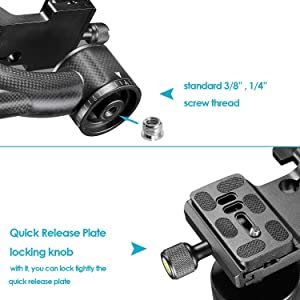 Neewer Professional Heavy Duty Carbon Fiber 360 Degree Panoramic Gimbal Tripod Head with Arca-Swiss Standard 1/4 inch Quick Release Plate and Bubble Level for DSLR Cameras up to 30pounds/13.6kilogram