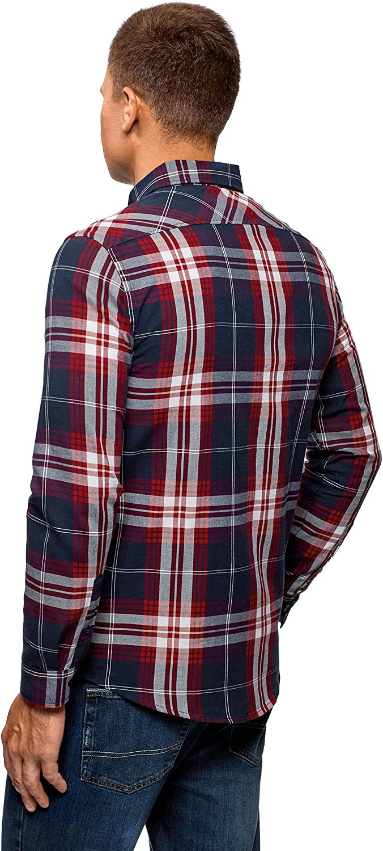 oodji Ultra Uomo Camicia a Quadri in Cotone