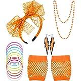 Blulu 80s Lace Headband Earrings Fishnet Gloves Necklace Bracelet for 80s Party
