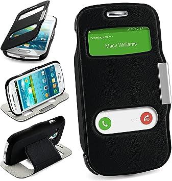 Bolso OneFlow para Funda Samsung Galaxy S3 Mini Cubierta con Ventana | Estuche Flip Case Funda móvil Plegable | Bolso móvil Funda Protectora Accesorios móvil protección paragolpes en Deep-Black: Amazon.es: Electrónica