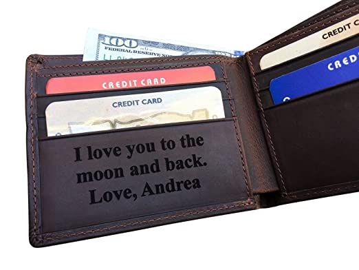 43f0add7fa68 RFID Blocking Personalized Genuine Leather Men s Bifold Wallet Monogrammed  with Custom Message Inside