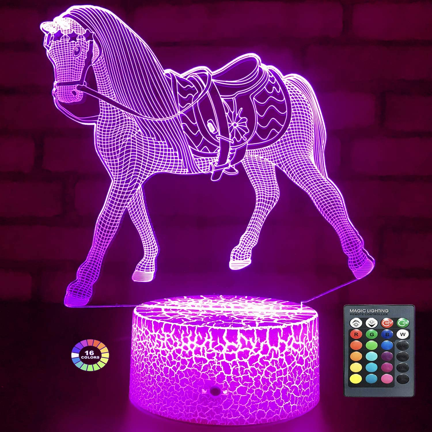 Menzee Horse Gifts for Girls,Horse Lamp Night Light for Kids Room Decor with Timer Remote Control & Smart Touch 7 Colors Horse Toys Birthday Gifts for 2 3 4 5 6 7 8 9 Year Old Girl Gifts