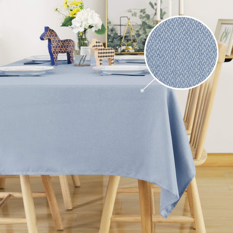 Deconovo Manteles Mesa de Sal/ón Impermeable Moderno Mantel Rectangular 130 x 220 cm Gris