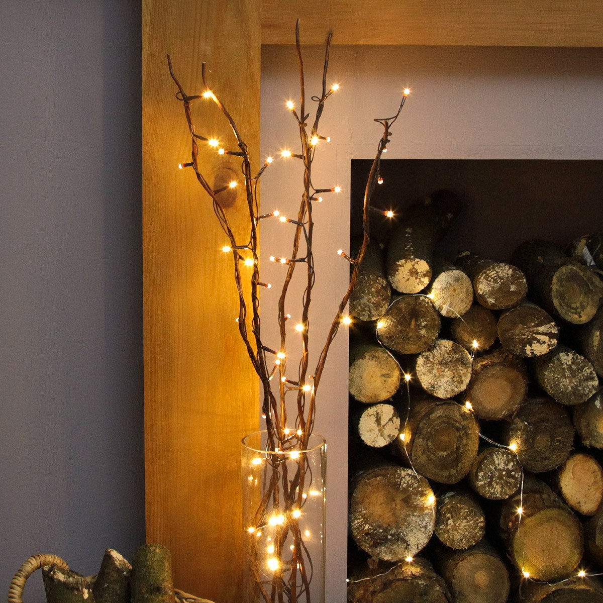 Festive Lights 5 x 87cm Decorative Twig Lights with 50 Warm White LEDs (Brown) [Energy Class A++]