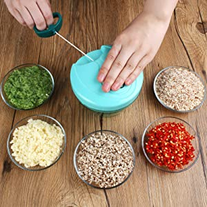 Manual Food Chopper Processor for Vegetable Fruits Onion Garlic Lettuce Tomato, Hand Pulled Vegetable Cutter Mincer Slicer for Easy Preparation | Kitchen Use Mixer, Durable BPA free food safe material