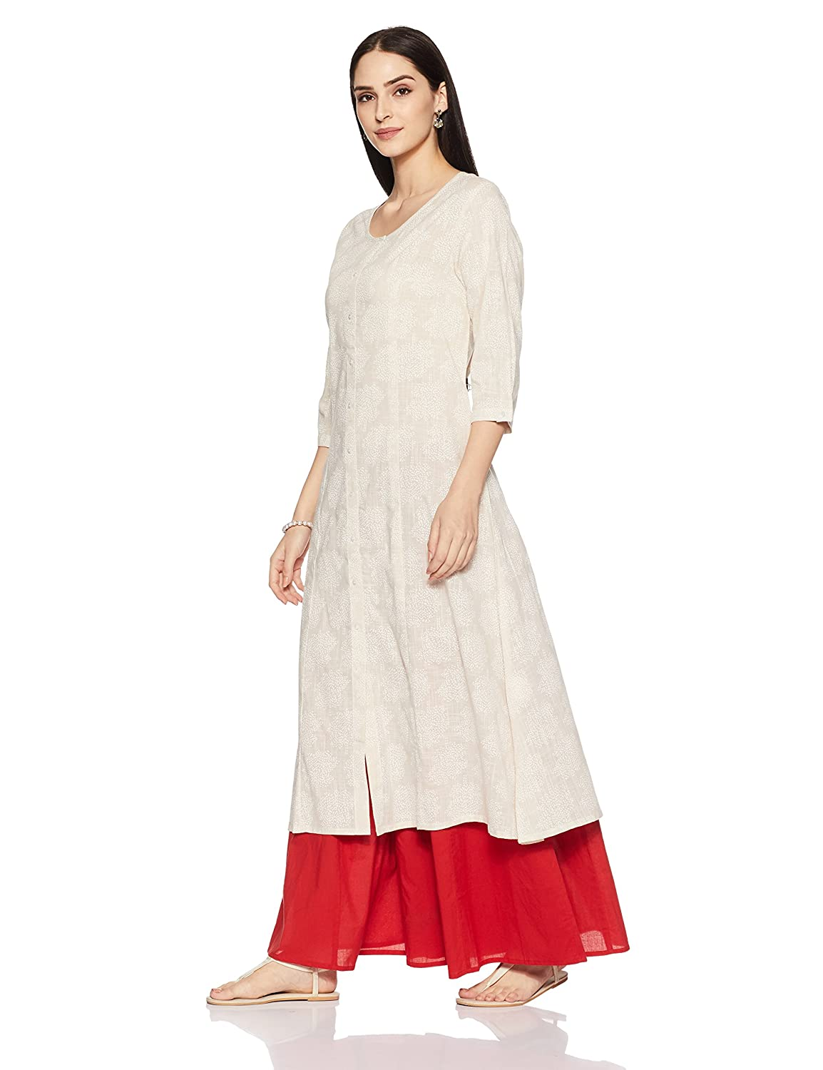 8ea0ea05a Rangmanch By Pantaloons Women s Straight Kurta(110039874009 Off-White X-Large)   Amazon.in  Clothing   Accessories