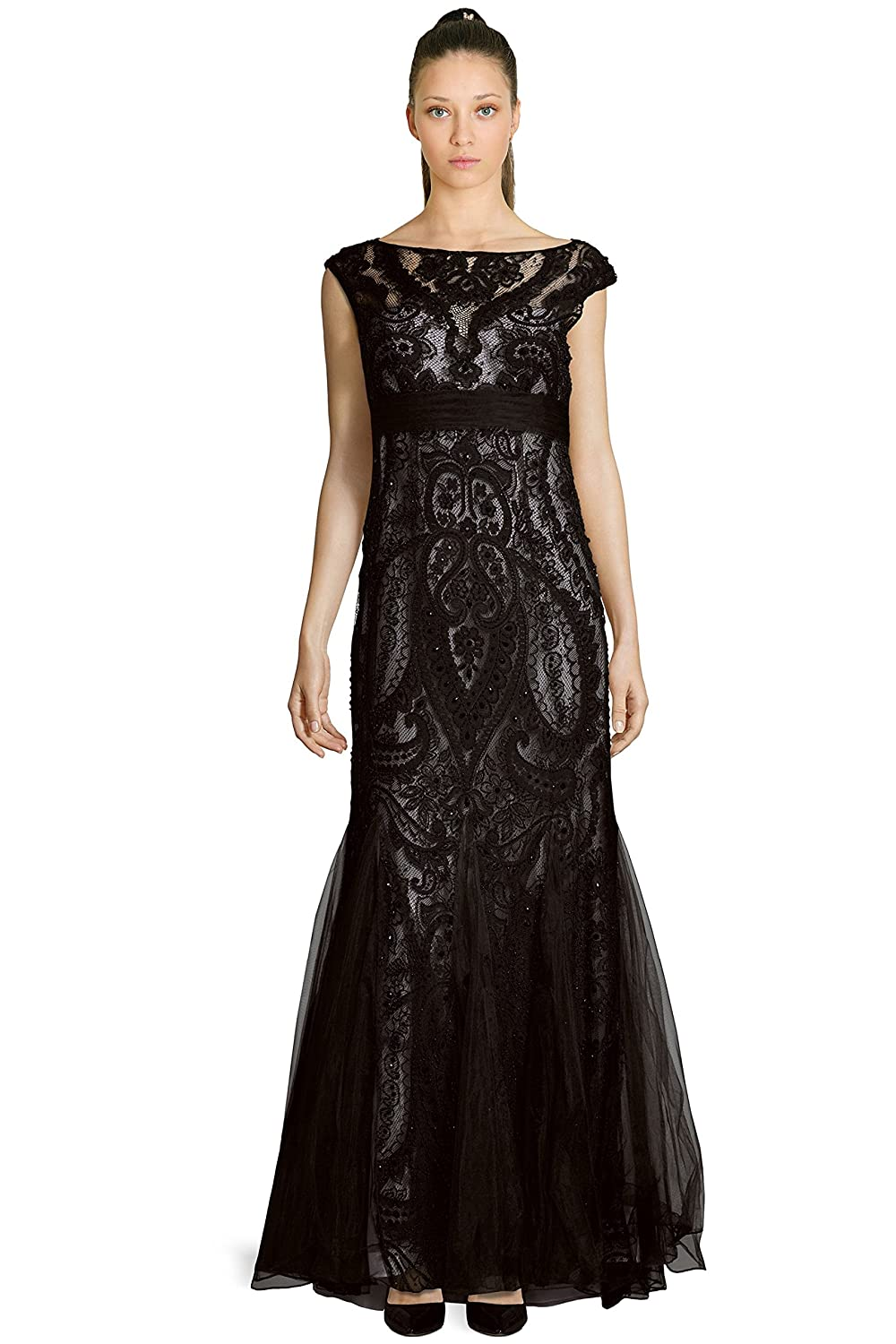 Teri Jon Embellished Lace Cap Sleeve Evening Gown Dress At Amazon