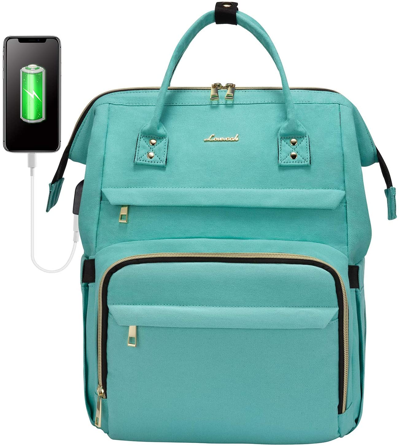 Laptop Backpack for Women Fashion Travel Bags Business Computer Purse Work Bag with USB Port, Light Green, 15.6-Inch