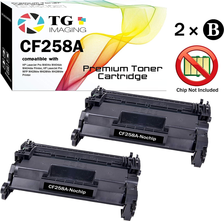 (2-Pack, No Chip) TG Imaging Compatible CF258X 58X CF258A Toner Cartridge for HP 58A Laserjet Pro M404 M428 Series Printer