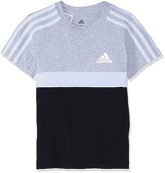 adidas Cotton Colorblock T-Shirt à Manches Courtes pour garçon M Light Grey  Heather  7479ae9a744