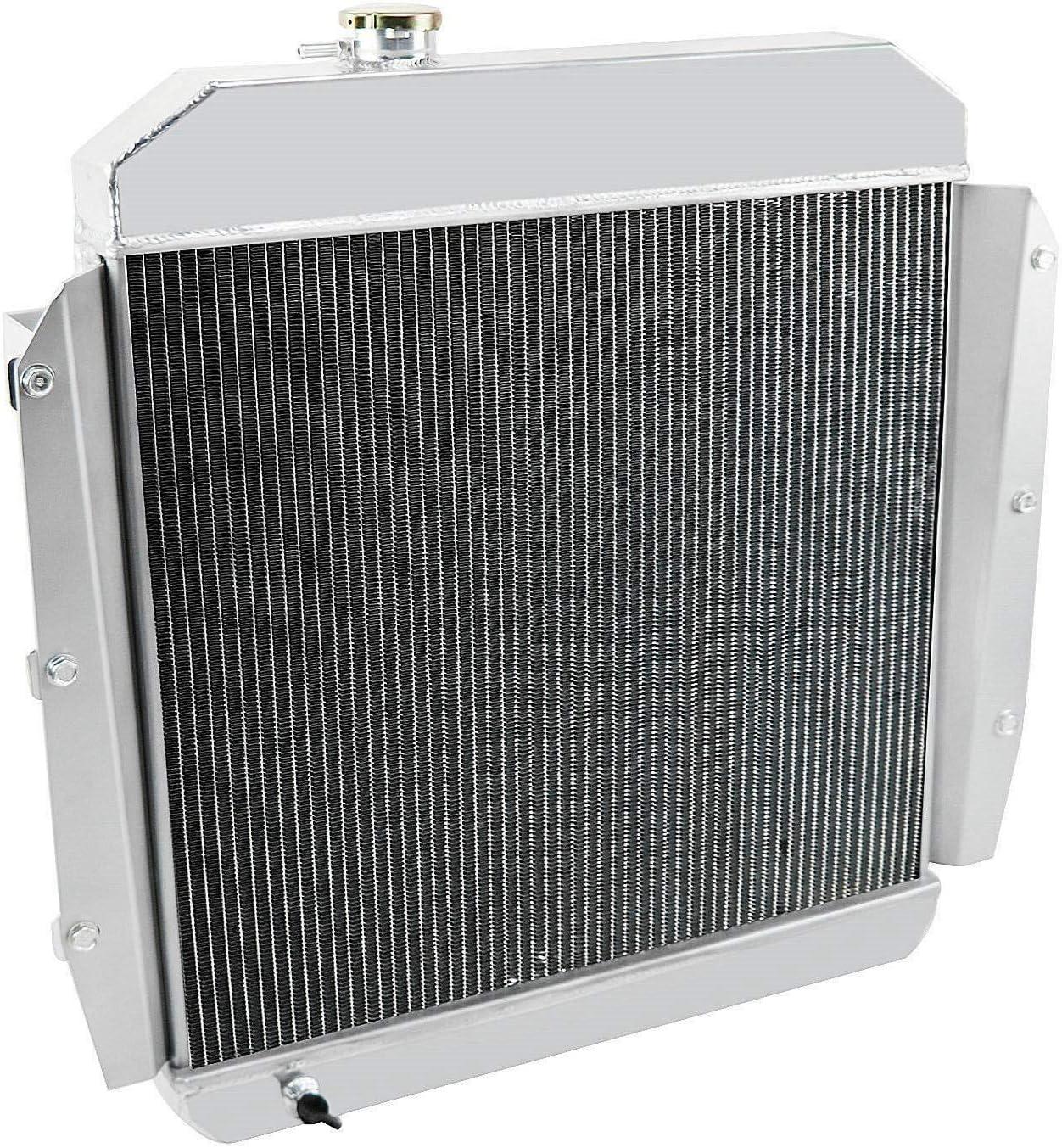 ALLOYWORKS 3 Row All Aluminum Radiator+Shroud Fan+Relay Fit For 1955 1956 1957 1958 1959 chevy GMC Truck Pickup Chevrolet Apache Base L6 V8