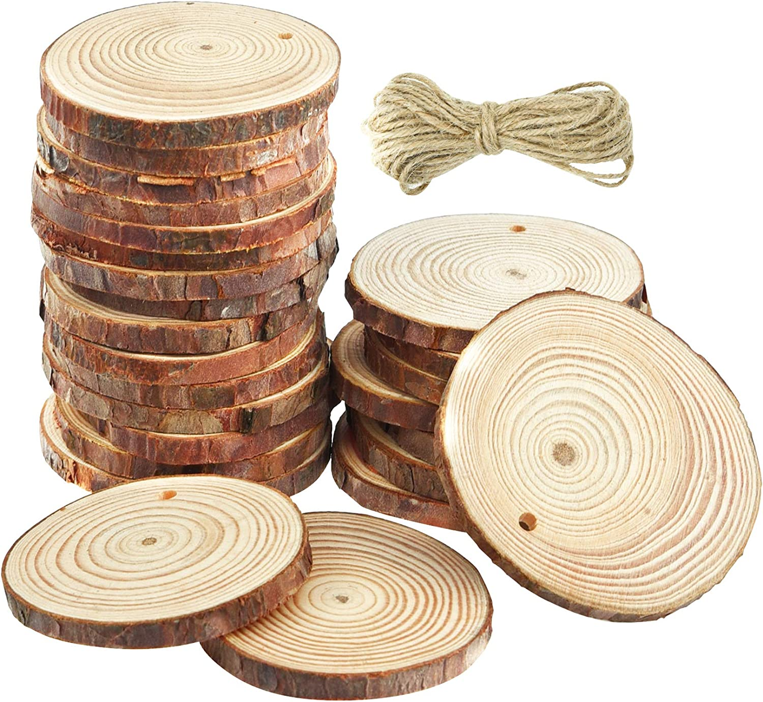 """Natural Wood Slices Unfinished Predrilled Round Discs Hole Wooden Circles with Natural Jute Twine 2.4""""-2.8"""" for Arts,Crafts,Christmas,Rustic Wedding Ornaments,DIY Crafts and Gift Tags (25)"""