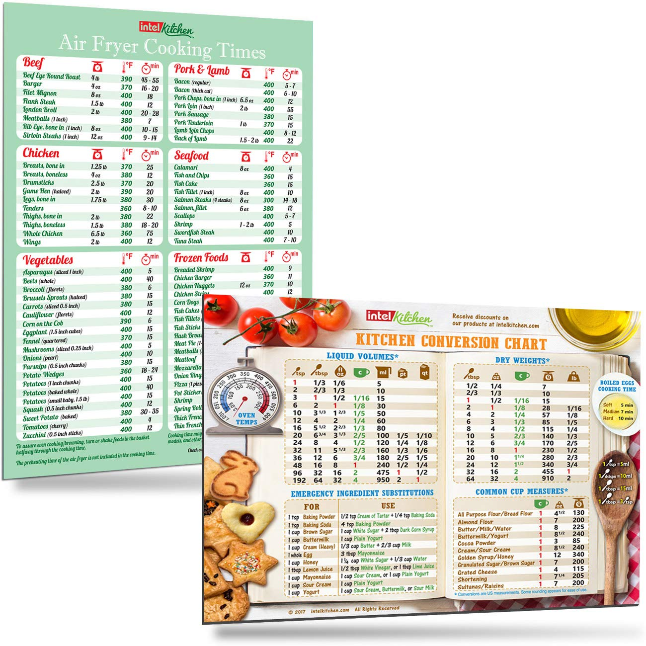 """Cool Kitchen Gift Set: Green Air Fryer Cooking Times + Kitchen Conversion Chart Magnets (8""""x11"""") Cooking Measuring Baking Hot Air Frying Cook Time Chart Recipes Cookbook Reference Cheat Sheet Accessories Easy To Read Big Fonts"""