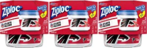 Ziploc Food Storage Meal Prep Containers, Small, 2 Count, Pack of 3 (6 Total Containers), Twist N Loc- NFL Atlanta Falcons