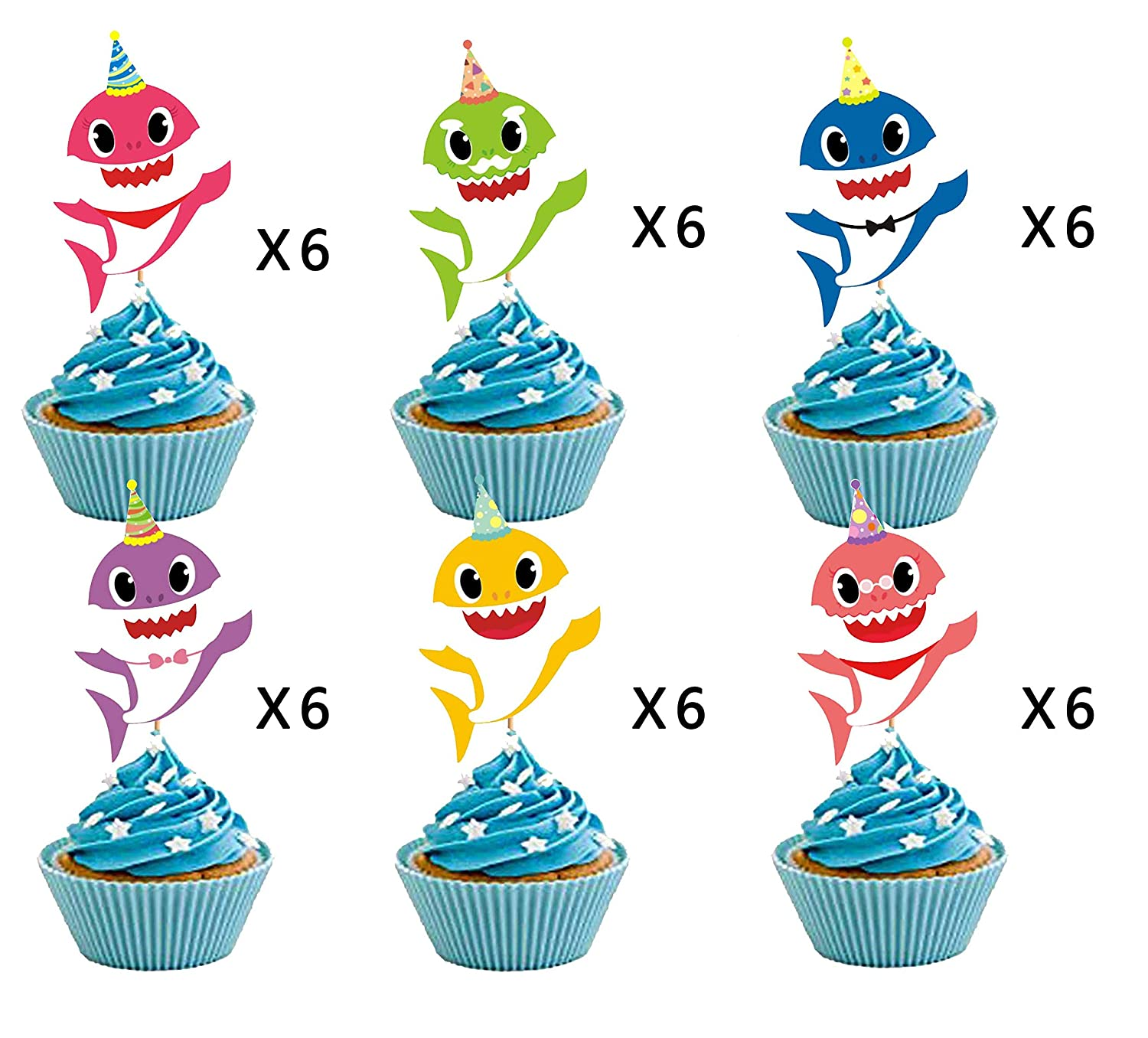 Shark Family Baby Shower Birthday Party Decorations 36 pieces Shark Cupcake Toppers Shark Theme Party Supplies