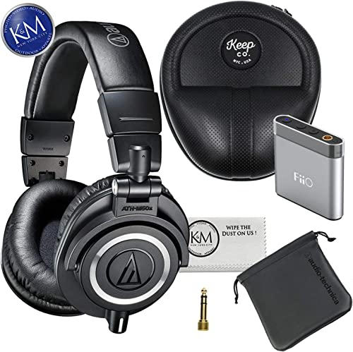 Audio Technica Headphone w Keep Case Bundles ATH-M50x Black, w Keep Case A1 Amp