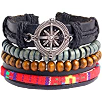 Zivom® Leather Hamsa Hand Peace Owl Leaf Charm Wrist Band Multi Strand Bracelet Men Boy