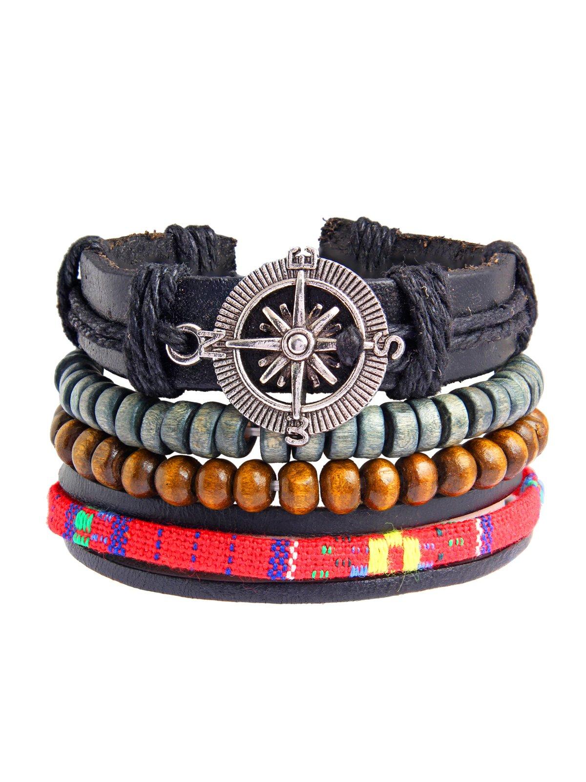 The Jewelbox Zivom Handcrafted Black Leather Wood Tibetan Beads Wrist Band Multi Strand Bracelet Men Boys