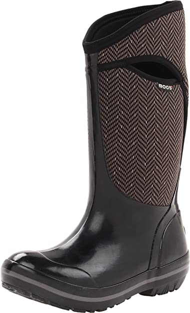 Bogs Womens Plimsoll Tall Herringbone Waterproof Insulated Boot       Black Grey