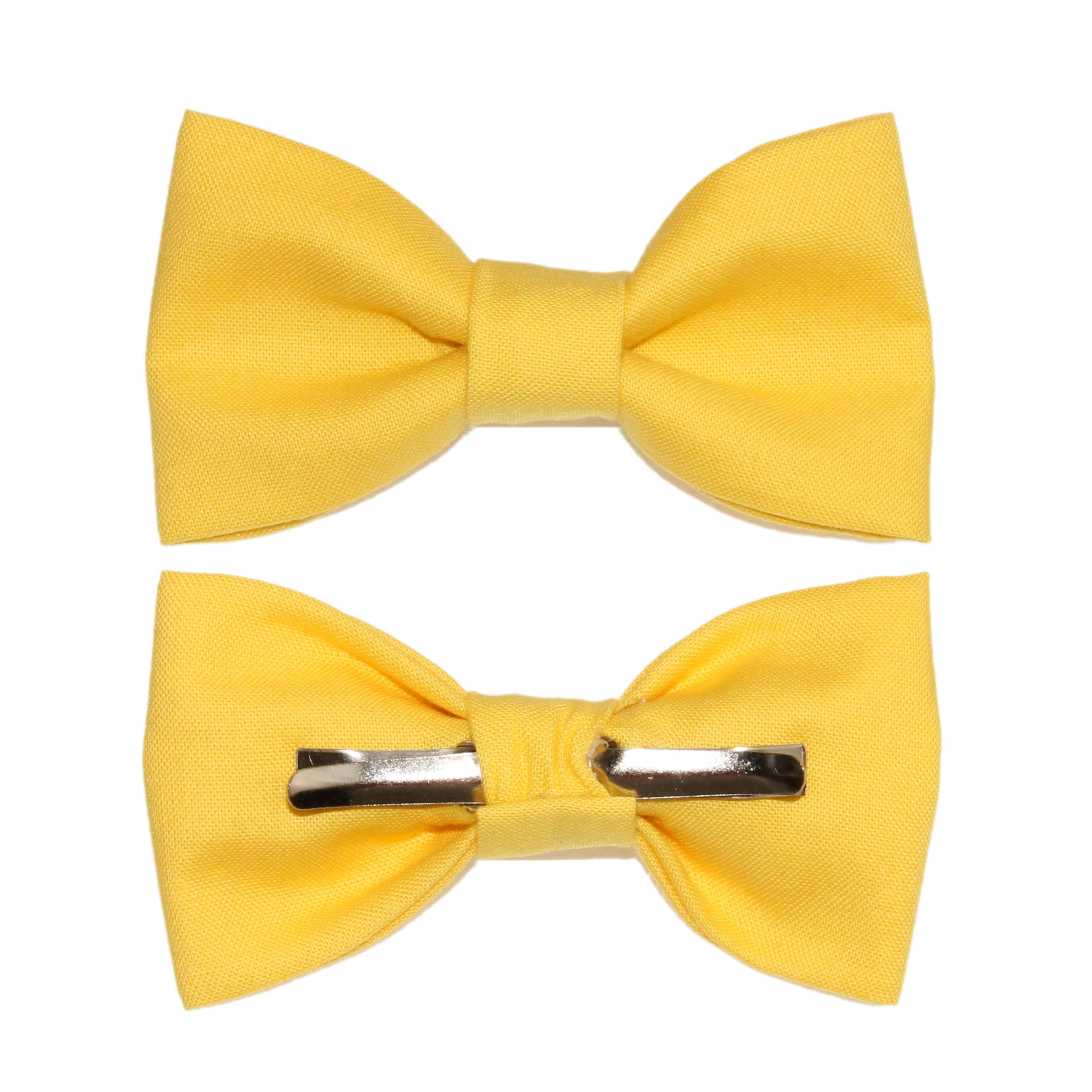 Toddler Boy 4T 5T Canary Yellow Clip On Cotton Bow Tie - Made In The USA