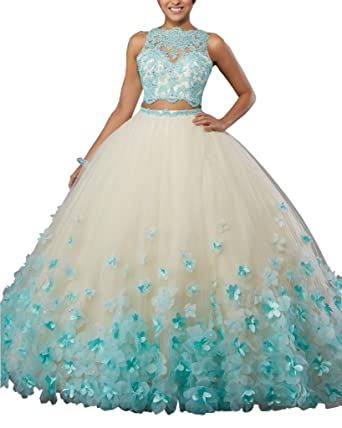 Mollybridal Handmade Flower Ball Gown Lace Hollow Back Prom Dress Two Pieces Tulle Aqua 2