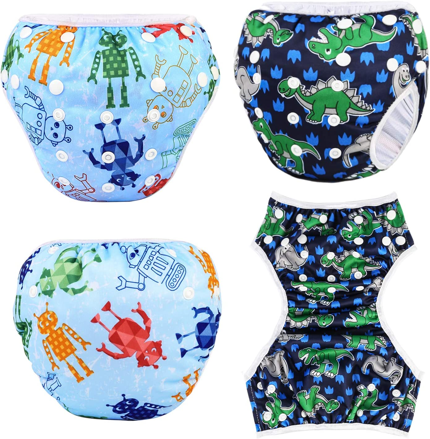 Phogary Schwimmwindeln Dinosaurier+Roboter 2er-Pack wiederverwendbare Baby-Schwimmwindel f/ür Babys von 0 bis 3 Jahren perfekt f/ür Duschen Strand- und Schwimmstunden Gewicht 3 bis 15 kg
