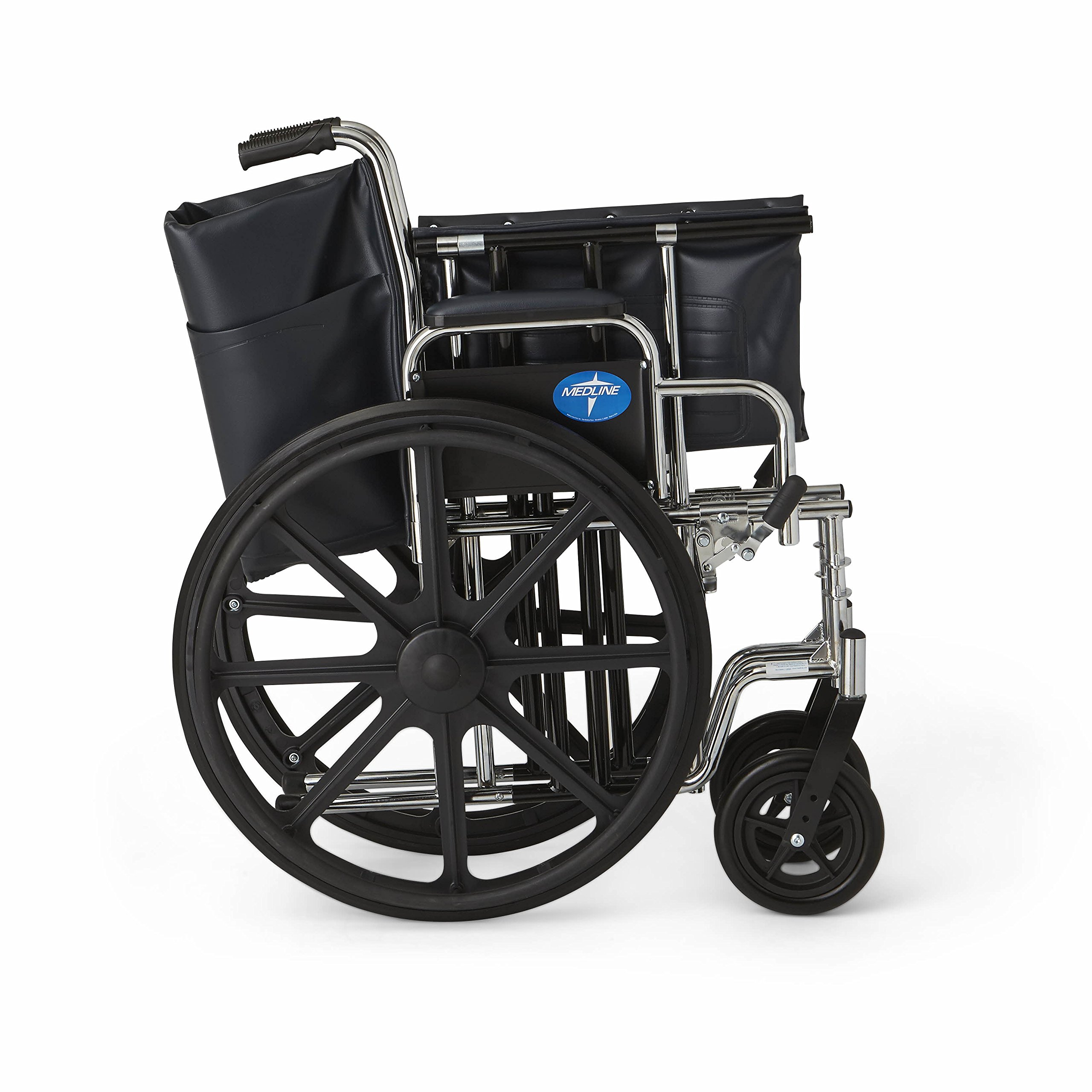 "Medline Excel Extra-Wide Wheelchair, 24"" Wide Seat, Desk"