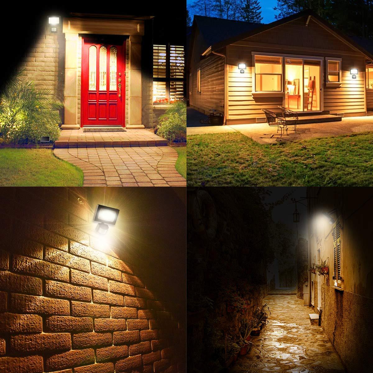10W MEIKEE Spots LED avec d/étecteur de mouvement Lot de 2 Lampe murale /à /économie d/énergie cl/ôture patio et cour Projecteur led avec Capteur /Éclairage de haute efficacit/é IP66 pour jardin