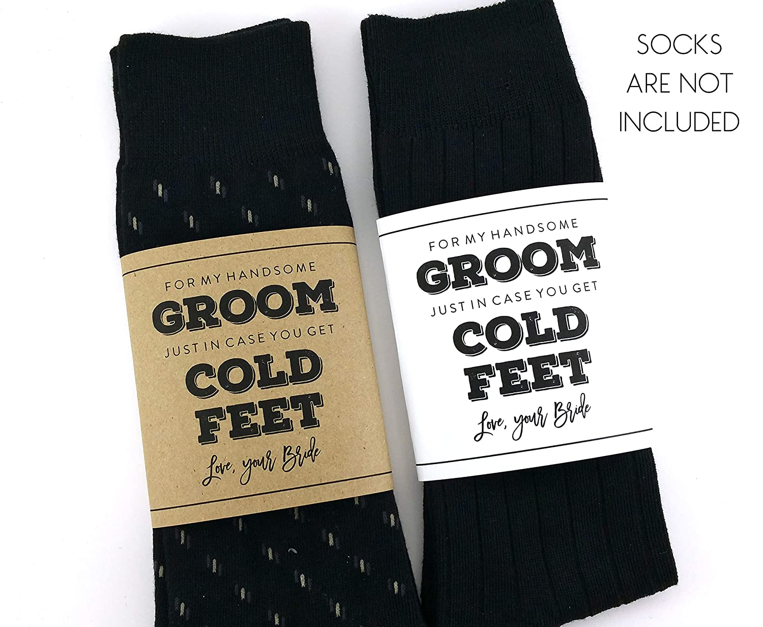 Cold Feet Sock Wrapper, Groom Gift, Wedding Socks Wrapper, Wedding Socks Label (SOCKS NOT INCLUDED)