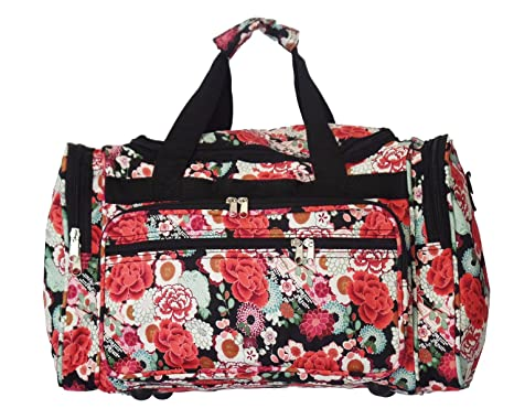 fe46536d9d 22 quot  Fashion Multi Pocket Gym Dance Cheer Travel Carry On Duffle Bag  (Floral