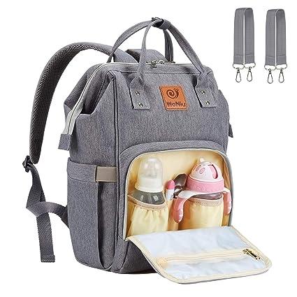 d365ac6e4 Pañal Bolso Mochila - WoNiu Multifuncional de Gran Capacidad, Impermeable  Bolsa de Pañales Para Bebés