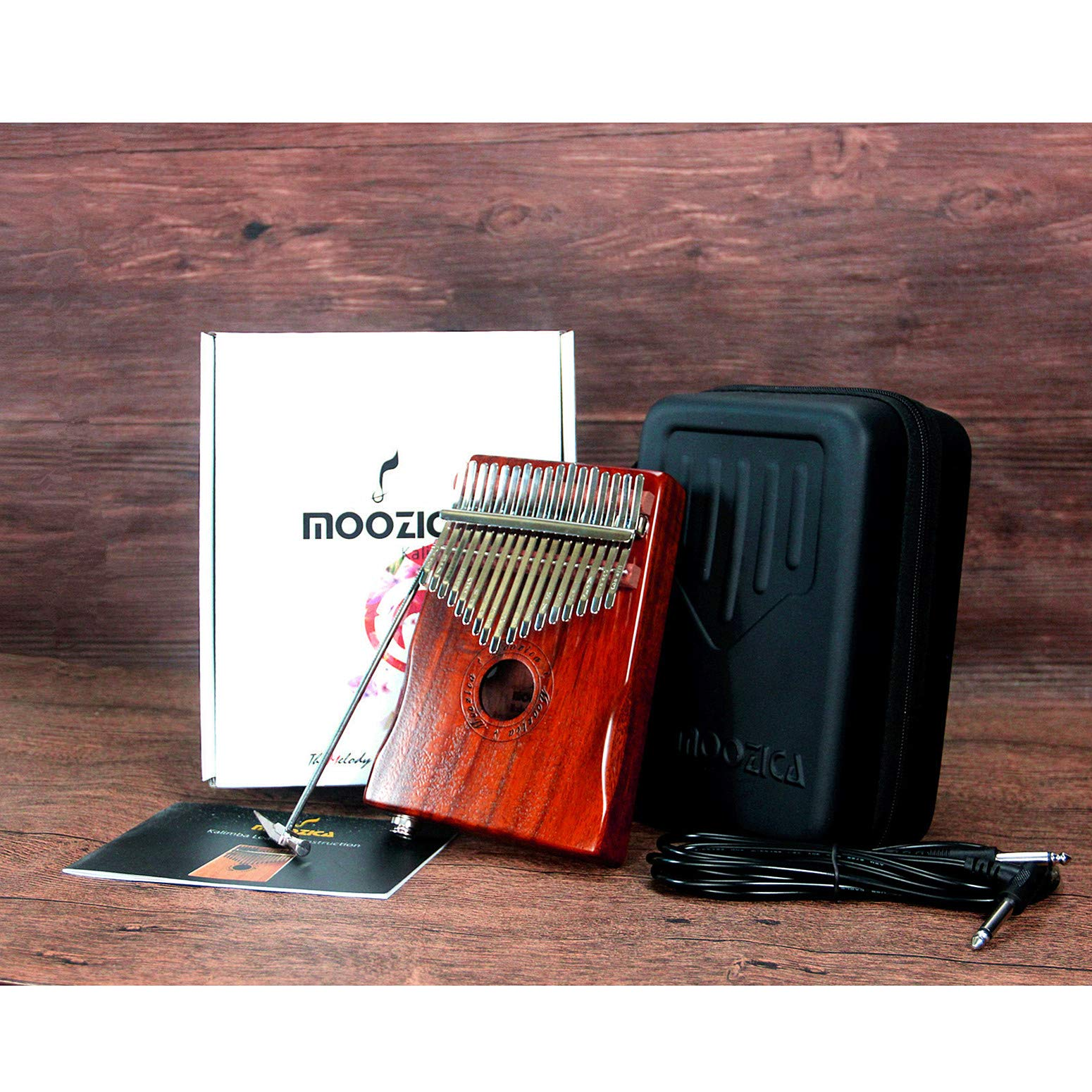 Moozica 17-Key EQ Kalimba, Koa Tone Wood Electric Finger Thumb Piano Built-in Pickup With 6.35mm Audio Interface and Professional Kalimba Bag by Moozica (Image #7)