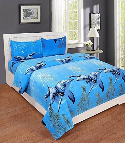 41dd42d9469 The Beaitiful Thing 3D Printed Dolphin Cotton Double Bed Sheet With 2  Pillow Covers  Amazon.in  Home   Kitchen