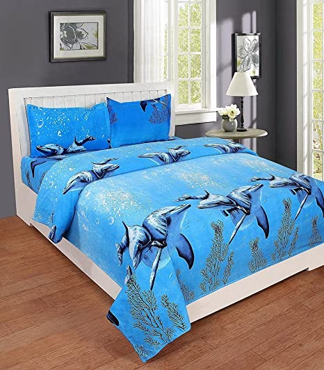 The Beaitiful Thing 3D Printed Dolphin Cotton Double Bed Sheet With 2 Pillow Covers