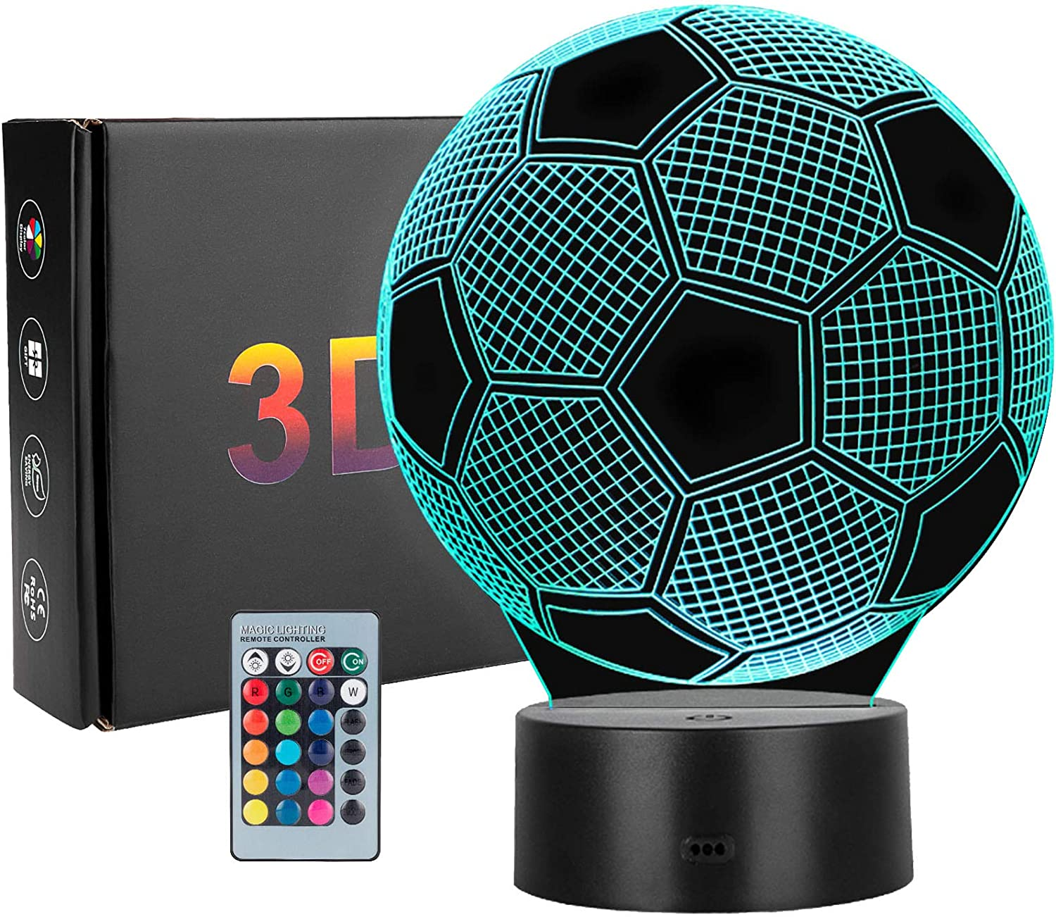 Linkax Soccer Night Light 3D Optical Illusion Football Night Lamp with Remote Control 16 Colors Changing Soccer Birthday Valentine's Day Idea for Sports Fan Boys Girls