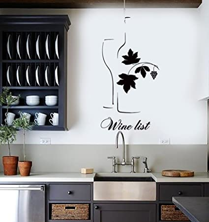 Wall stickers vinyl decal wine list vine grape leaf cool decor for bar z1362i