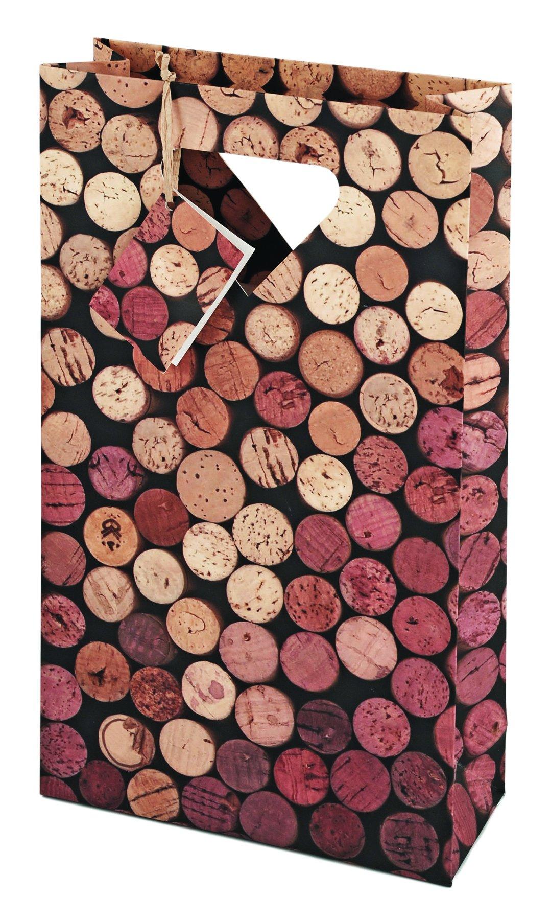 Cakewalk 2-Bottle Corks Wine Bag, Brown,