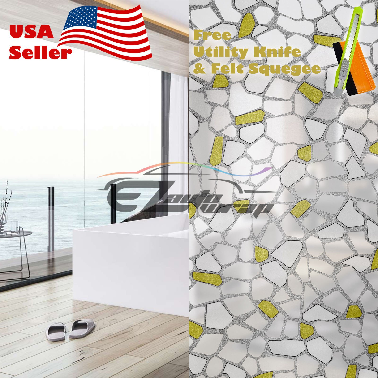 Free Tool Kit EZAUTOWRAP Yellow Brick Frosted Glass Peel And Stick Window Film Home Bedroom Bathroom Privacy Waterproof Sticker Decal - 36''X600'' (3FT X 50FT)