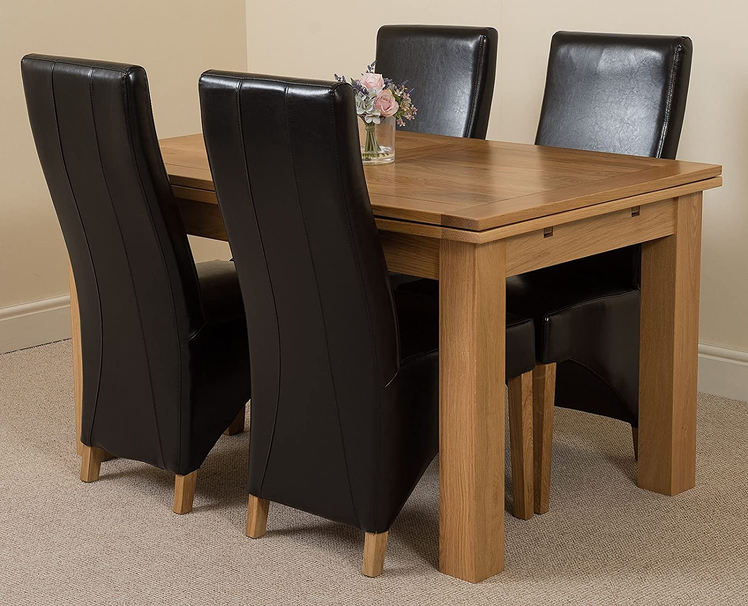Modern furniture direct richmond medium extending solid oak dining table 4 black leather chairs 100 solid oak 140cm 220cm extending fast