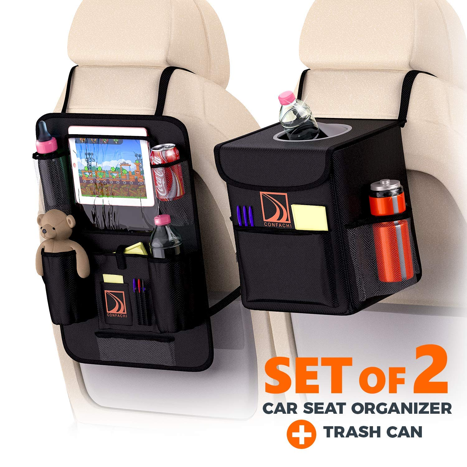 Backseat Car Organizer + Car Trash Can | Bundle of Car Garbage Can with Lid and Car seat Organizer for Kids with Ipad Holder and Cup Holder and Extra Car Storage Pockets by CONFACHI