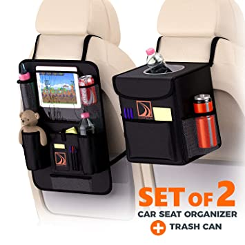 Confachi Backseat Organizer And Car Trash Can Bundle Of Car Garbage Can With Lid And Car Seat