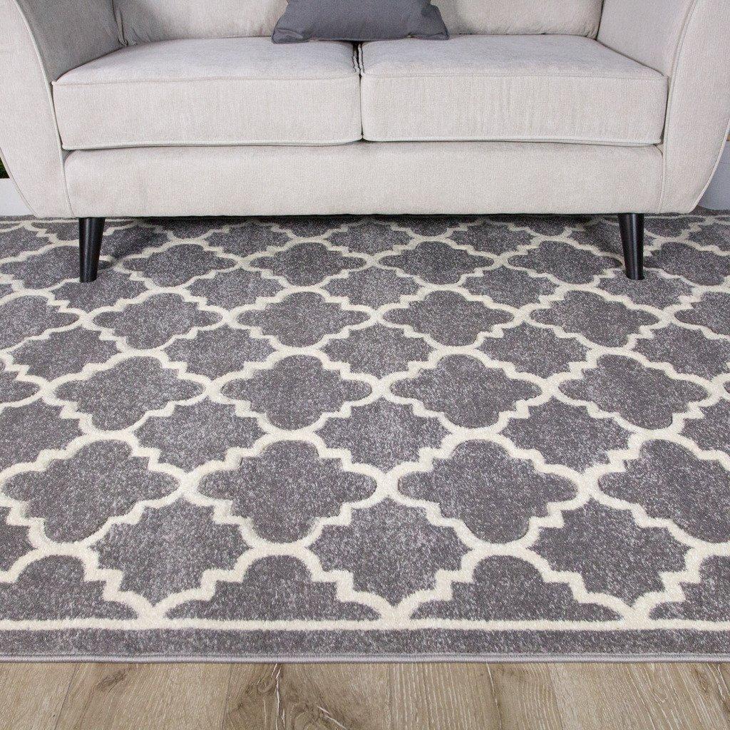 The Rug House Havana Marokkanisch Teppich mit Trellis Gitter-Muster für Das Wohnzimmer in Grau- und Cremetöne 160cm x 220cm